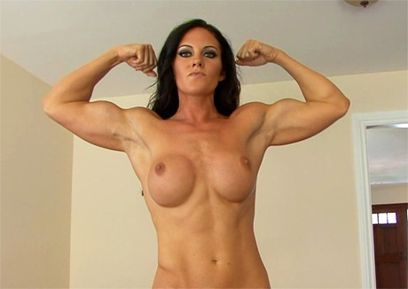 Sexy muscle woman flexing her biceps topless from wonderful katie morgan