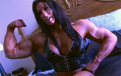 Sexy Female Bodybuilder huge muscles in leather from wonderful katie morgan