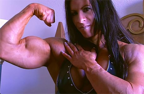 Sexy Female Bodybuilder huge hard muscles in leather from wonderful katie morgan