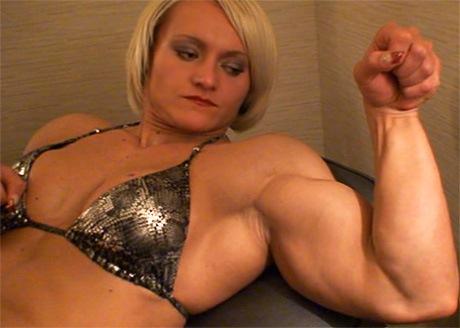 Blonde female bodybuilder Brigita Brezovac flexing from wonderful katie ...