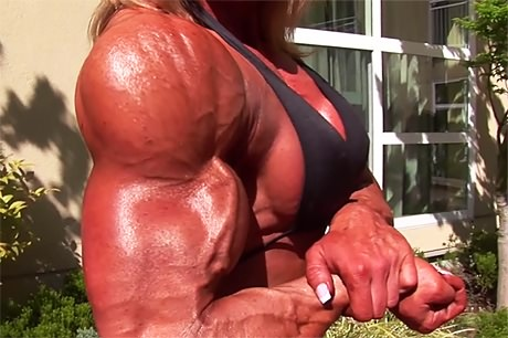 Tall muscular blonde Amazon posing outdoors from wonderful katie morgan