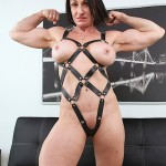 Mature muscle Mistress Jillian Fox posing in leather bondage from wonderful katie morgan