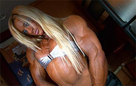 Sexy blonde Female Bodybuilder flexing her huge ripped muscles from wonderful katie morgan