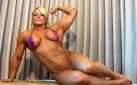 Sexy Female Bodybuilder flexing her huge muscles in a micro biki from wonderful katie morgan