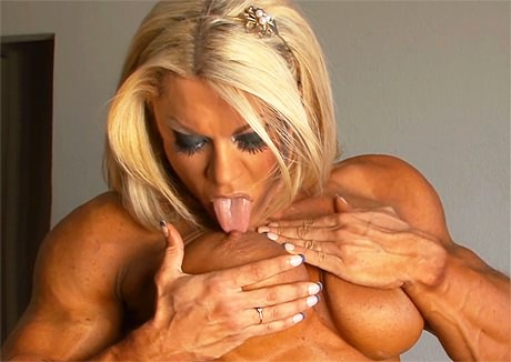 Sexy busty Female Bodybuilder posing topless from wonderful katie morgan