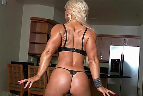 Busty blonde Fitness babe with strong muscles topless posing from wonderful katie morgan