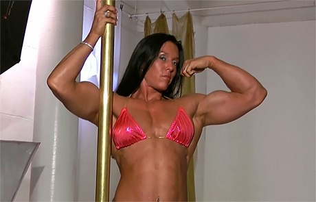 Sexy Fitness woman with strong muscles posing and flexing from wonderful katie morgan