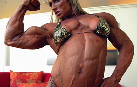 Female Bodybuilder Tazzie Colomb bikini posing from wonderful katie morgan