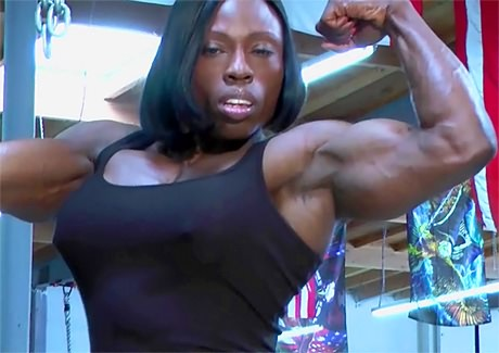 Black muscular Mistress Treasure hard gym workout from wonderful katie morgan